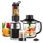 Smoothie Shake Blender, Fochea 3 In 1 Food Processor Multi-Function Kitchen Mixer System